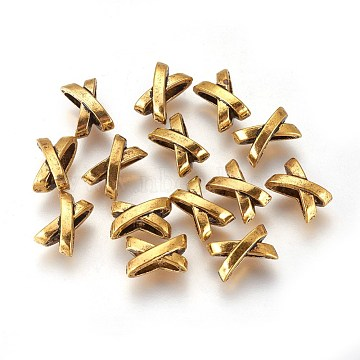 Tibetan Style Slide Charms, Cadmium Free & Lead Free, Letter X, Antique Golden, Size: about 10mm long, 7mm wide, 6mm thick(GAB5339Y)