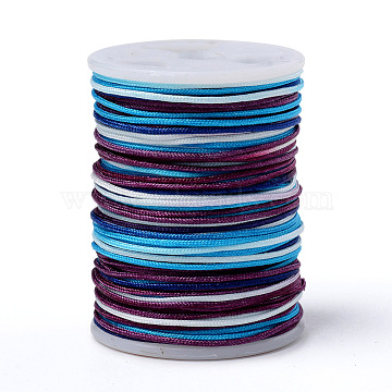 Segment Dyed Polyester Thread, Braided Cord, Colorful, 0.6mm; about 10m/roll(NWIR-I013-A-13)