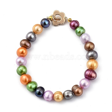 Natural Cultured Freshwater Pearl Beaded Bracelets, with Flower Brass Toggle Clasps, Golden, Colorful, 7-7/8 inches(20cm)(BJEW-JB05434-03)