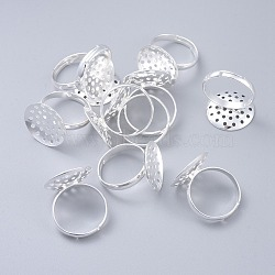 Adjustable Brass Ring Components, Sieve Ring Bases, Silver Color Plated, 17mm; Tray: 18mm(KK-G114-S)