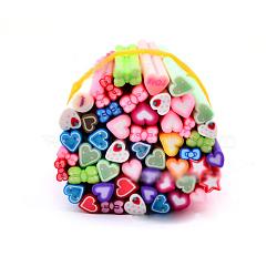Décoration d'art d'ongle en argile polymère , soins des ongles de mode , pas de tubes de trou, Heart & bowknot, couleur mixte, 5 cm(MRMJ-R052-130B)