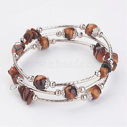"""Trois boucles enveloppent des bracelets de perles de tigre naturel, Avec cordon en laiton, séparateur perle de fer, Coupelles de style tibétain , 2-1/8"""" (54 mm)(BJEW-JB02922-04)"""