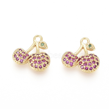Golden DeepPink Cherry Brass+Cubic Zirconia Charms