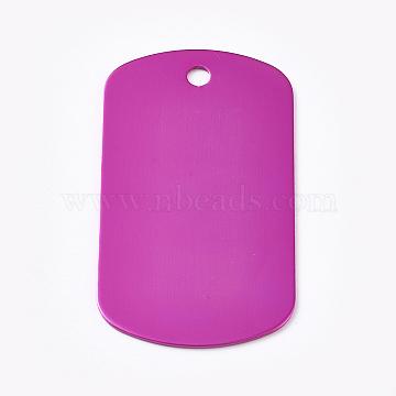 Aluminum Pendants, Blank Tags, Rectangle, Deep Pink, 50x29x1mm, Hole: 3.5mm(ALUM-WH0009-02C)
