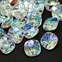 Taiwan Acrylic Rhinestone Buttons, Faceted, 1-Hole, Square, Clear, 13x13x7mm, Hole: 1mm