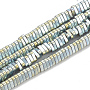 Electroplate Non-magnetic Synthetic Hematite Beads Strands, Triangle, Green Plated, 2.5x3x1mm, Hole: 0.8mm; about 390pcs/strand, 16.14 inches