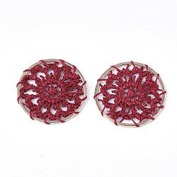 подвесные украшения из полиэстера, с железом выводы, плоские круглые с цветком, светлое золото, Darkred, 28x1.5 mm(FIND-S283-06C)