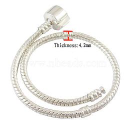 Bracelets européens en laiton, avec fermoir en laiton, couleur argentée, environ 19 cm de long (à l'exception de la longueur de lcok), épaisseur de 3mm, 2 trou mm(X-PPJ008Y-19CM-S)