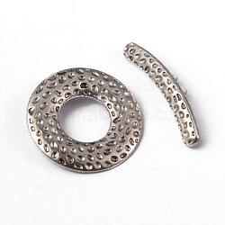 Fermoirs toggle en argent tibétain , donut, sans plomb et sans cadmium, argent antique, donut: 31x4.5x1.5 mm, trou: 1.5mm; barre: environ 25.5mm de long,  largeur de 25.5 mm, épaisseur de 1.5mm, Trou: 1.5mm(X-LF10975Y)