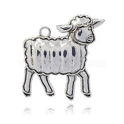 Supports d'émail alliage d'animaux de style tibétain, pendentifs de moutons, argent antique, 66x62x7mm, Trou: 6mm(PALLOY-J377-79AS)
