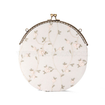 SHEGRACE Embroidered Lace and Corduroy Clutch Women Evening Bag, with Alloy Flower Purse Frame Handle, Alloy Twisted Curb Chain, White, 210x210mm(JBG002A-06)