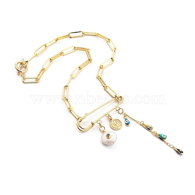 Evil Eye Brass Enamel Pendant Necklaces(NJEW-JN03053-02)-1