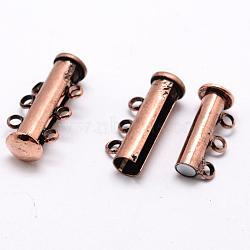 Fermoirs magnétiques coulissants de tube en laiton 3 -strands 6-trous, sans nickel, cuivre rouge, 21x10x6.5mm, Trou: 2mm(KK-D473-R-NF)