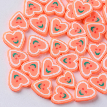 Handmade Polymer Clay Nail Art Decoration Accessories, Fashion Nail Care Cabochons, Heart with Smile, Light Salmon, 9~12x9~12x2mm, about 80~100pcs/20g(X-CLAY-N006-20A)