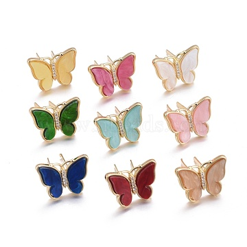 Resin Shoe Buckle Clips, with Brass Micro Pave Cubic Zirconia, for Shoe or Handbag Decoration, Butterfly, Golden, Mixed Color, 16x20x3mm(KK-F819-05B-G)