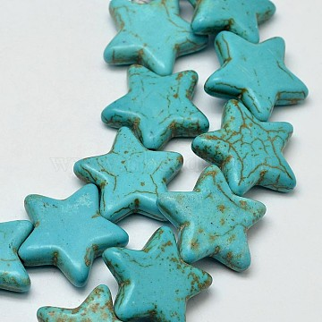 12mm MediumTurquoise Star Synthetic Turquoise Beads