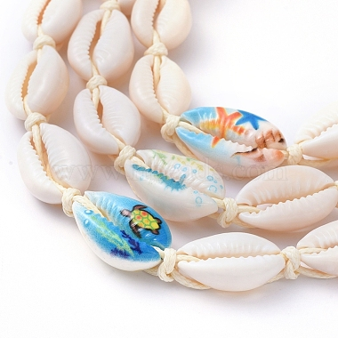 Adjustable Printed Cowrie Shell Braided Beaded Necklaces(NJEW-JN02790)-3