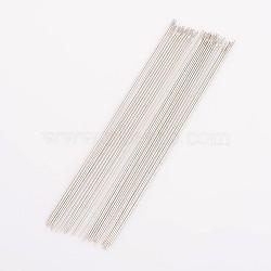 Aiguilles à perles en acier, environ 0.4 mm d'épaisseur, Longueur 79mm, environ 34 pcs-38 pcs / sachet (ES002Y)