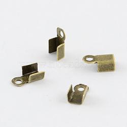 Железо складной обжима концов, без никеля , античная бронза , шириной около 3 мм, 6 мм длиной, отверстие : 1 мм(X-E029-NFAB)