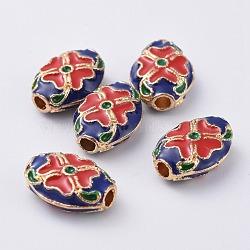 Alloy Enamel Beads, Oval, Golden, Blue, 14x10x5mm, Hole: 2mm(ENAM-F061-02G)