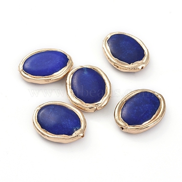 Natural Lapis Lazuli Beads, with Golden Plated Edge Brass Findings, Oval, 27.8x22.1x7.4mm, Hole: 1.4mm(X-G-G812-03G)