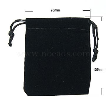 Velvet Jewelry Bags, Black, 105x90mm(X-TP-A001-9x10.5cm-2)