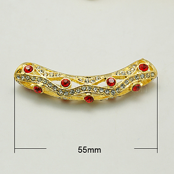 Alloy Rhinestone Tube Beads, Grade A, Golden Metal Color, Light Siam, 55x10x8mm, Hole: 5mm(RB-C1389-5G)