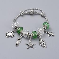 """Bracelets européens en laiton, avec perles rondelles en verre faites à la main et breloques en alliage de style tibétain, thème de l'océan, limegreen, 7-1/2"""" (19 cm)(BJEW-JB04788-01)"""
