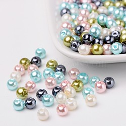Pastel mix perles perles de verre nacrées, couleur mixte, 6mm, trou: 1 mm; environ 200 PCs / sachet (HY-X006-6mm-12)