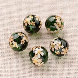 цветочная картина печатные стеклянные круглые бусины, темно-зеленый, 10 mm, отверстия: 1 mm(GLAA-J089-10mm-A09)