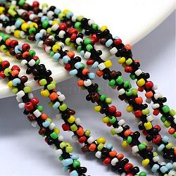 Cordons de perles de semences, avec des câblés en polyester, 6 pli, trou rond, colorées, 6 mm; environ 30 m / bundle(OCOR-R042-10)