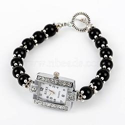 Rectangle Alloy Rhinestone Electronic Watch Bracelets, with Black Stone and Tibetan Style Toggle Clasps, Platinum, 195mm(BJEW-JB01737-02)