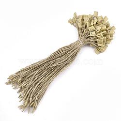 Пеньковая веревка с биркой, пластиковые метки, деревесиные, 180x1.5 мм; печать тега: 9x7.5x4 мм и 8x3x2.5 мм; около 1000 шт. / пакет(CDIS-T001-18A)