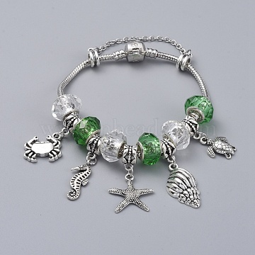 Brass European Bracelets, with Handmade Glass Rondelle Beads and Tibetan Style Alloy Charms, Ocean Theme, Lime Green, 7-1/2 inches(19cm)(BJEW-JB04788-01)