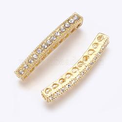 alliage de zinc de perles de strass, effacer, or, 38~39x4.5x5 mm, trou: 2 mm(X-RB-H147-G)
