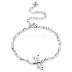 bracelets de cheville en laiton à la mode, maillon coeur avec libellule, argent, 7-7 / 8 (200 mm)(AJEW-BB31030)