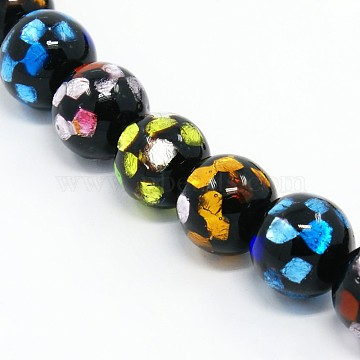 12mm Black Round Silver Foil Beads