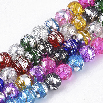 Drawbench Transparent Glass Beads Strands, Crackle Style, Round, Mixed Color, 8x7.5mm, Hole: 1.5mm; about 103~105pcs/strand, 30.3 inches(X-GLAD-S090-8mm-11)