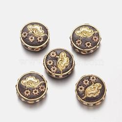 Perles en alliage, avec de l'argile polymère et perles de résine, plat rond, or, 18x8mm, Trou: 1.7mm(PALLOY-K193-04G)