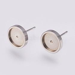 Supports clous d'oreilles en 304 acier inoxydable, plat rond, couleur inoxydable, plateau: 8 mm; 10x2 mm; broche: 0.8 mm(X-STAS-I088-F-02P)