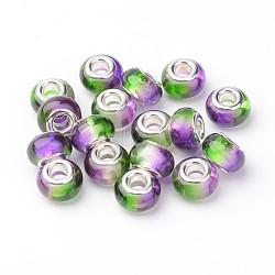 résine perles européennes, grand trou perles rondelle, avec des noyaux de cuivre, plaqué argent, mauve, 14x9 mm, trou: 5 mm(RPDL-H001-04)
