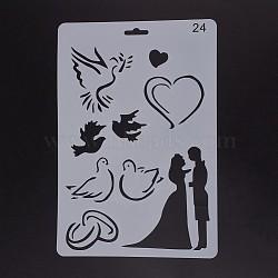 Modèles de pochoirs de peinture de dessin en plastique, rectangle, motif de mariage, blanc, 25.5x17.4x0.04 cm(DIY-F018-B24)