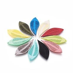 нейлоновые подвески, лист, cmешанный цвет, 44x17x1.5 mm, отверстия: 1 mm(FIND-O001-A)