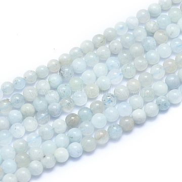 Natural Aquamarine Beads Strands, Round, 4~5mm, Hole: 0.7mm; about 86pcs/Strand, 15.55 inches(39.5cm)(G-K310-C06-4mm)