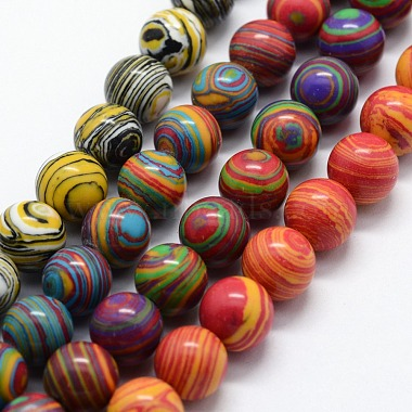 10mm Mixed Color Round Malachite Beads