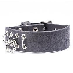 """Bracelets de montre en cuir d'unité centrale réglables, avec les accessoires en alliage, des anneaux de fer, grises , 8-5/8"""" (22cm); 19mm(WACH-F053-A04)"""