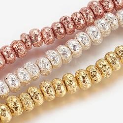 Chapelets de perles en lave naturelle électrolytique, Plaqué longue durée, rondelle, couleur mixte, 8.5~9x4.5~5mm, trou: 1.2mm; environ 81 pcs/chapelet, 16.41'' (41.7 cm)(G-P400-06)