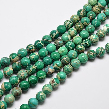Natural Imperial Jasper Beads Strands, Round, Dyed, Dark Cyan, 6mm, Hole: 1mm; about 62pcs/strand, 15 inches(G-I122-6mm-05)