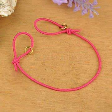 Elastic Cord Bracelet Making, with Iron Jump Rings, Adjustable, Fuchsia, 130mm(AJEW-JB00009-07)