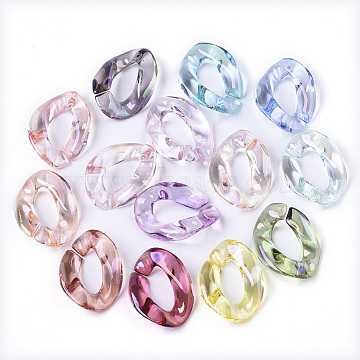 Transparent Acrylic Linking Rings, AB Color Plated, Quick Link Connectors, For Jewelry Curb Chains Making, Twist, Mixed Color, 22.5x16.5x5mm, Inner Diameter: 6x12mm(X-PACR-R246-004A)